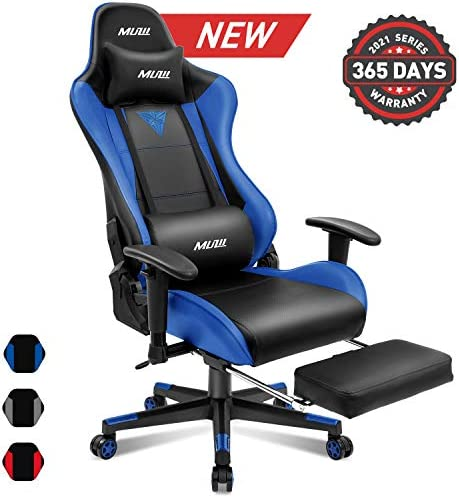 Muzii Gaming Chair with Footrest, High-Back PU Leather Office Chair with Headrest and Adjustable Lumbar Support,Ergonomic Computer Swivel Chair for Teens and Adults-Blue 001