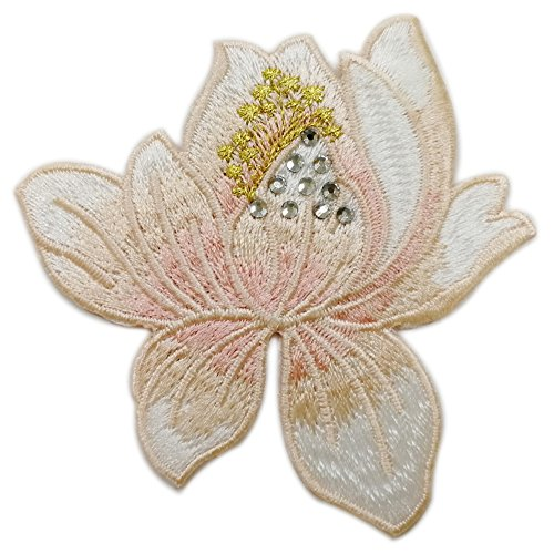 Lotus Iron-On Embroidered Patch Flowers Rhinestones Applique Motif for Clothes DIY Garment Decoration Craft (Style#3) (Iron Iii Tacking)