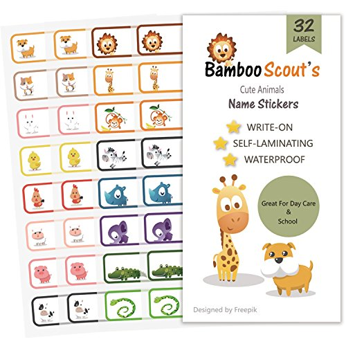 Baby Bottle Labels for Daycare,School, Waterproof Write-On, Self-laminating Name Labels, Tags, Sticker Multiple Colors(Animals) (Labels For Baby Bottles)