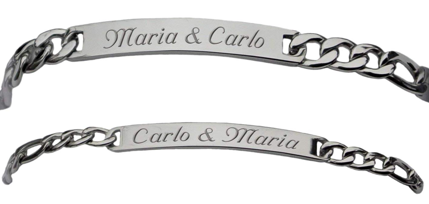 Engraved Silver His & Hers Figaro Link Thin ID Bracelet Set