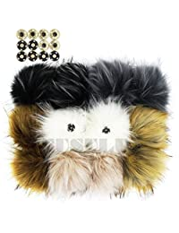 Pack of 12 Faux Raccoon Fur 4.3inch Pompoms Ball with Press Button