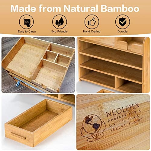 Bamboo Desktop Organizer | Home Office Bamboo Desk Drawer Organizer – 4 Tier Durable Wood Table Top Storage for Pencils, Notepads, Documents & Office Supplies 51wHJlDmcxL