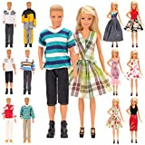 Mylass Lot 15 Items for Ken and Barbie Doll EU CE-EN71 Certified Include 5 Sets Casual Wear Clothes + 5 Pcs Pants +2 Shoes+3 Dress for Barbie Doll