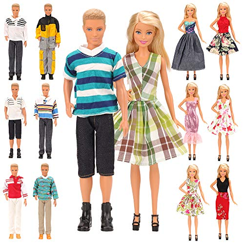 (Miunana Random Lot 15 Items for Ken and 11.5 Inch Dolls EU CE-EN71 Certified Include 5 Sets Casual Wear Clothes + 5 Pcs Pants + 2 Shoes for Ken+ 3 Dress for 11.5 Inch Doll)