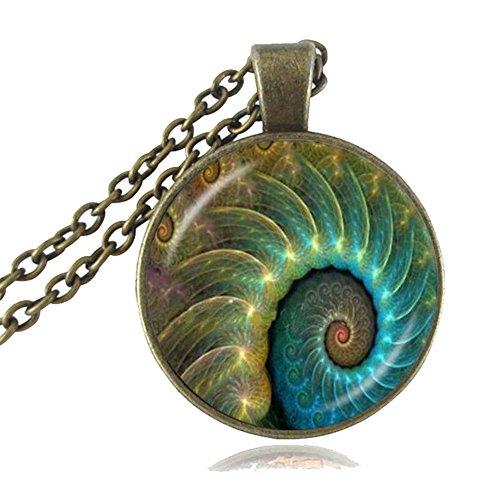 (YIWUOUKE Fibonacci Spiral Necklace Sacred Geometry Pendant Shell Swirls Jewelry Golden Ratio Sweater Necklace)