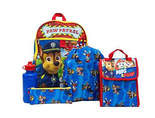 PAW Patrol Boys 5 Pc Set Backpack, Blue, One -