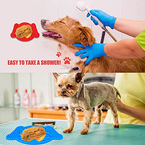 Lick Mat for Dogs, Pet Slow Feeders with Suction Cups, Interactive Dog Toys Dog Licking Mat, Calming Mat for Dog Anxiety Relief, Food Grade Silicone Lick Pad Perfect for Bathing, Grooming, Training
