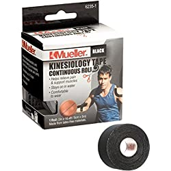 Mueller Sports Medicine Kinesiology Tape, Black, 2 Inches X 16.4 Feet Roll