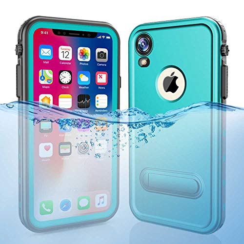 iPhone XR Waterproof Case, ZERMU Colorfue Kickstand Shockproof Snowproof Cover IP68 Underwater Full Body Protection Built-in Screen Protector Underwater Waterproof Case for iPhone XR 6.1 inch 2018