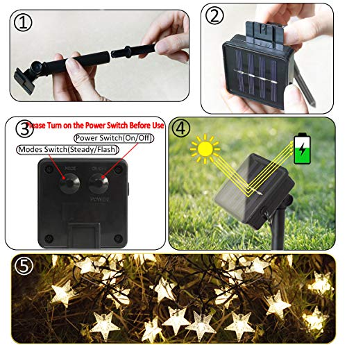 Windpnn Solar Star String Lights, Outdoor Solar Powered Twinkle Fairy Lights, 30ft 50LED Waterproof Christmas Starry Ambiance Lights for Gardens Lawn Patio Landscape Xmas Tree New Year Holiday