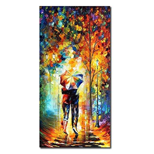 55c60f0d38 JRMISSLI Rainy Wark couples art Late Stroll Gallery Landscape Oil Painting  On Canvas Wall Art Wall