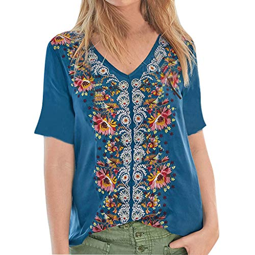 Kulywon Women Fashion Splice Retro Solid Print Tops Casual Loose V-Neck Shirt Blouse 2019 Blue