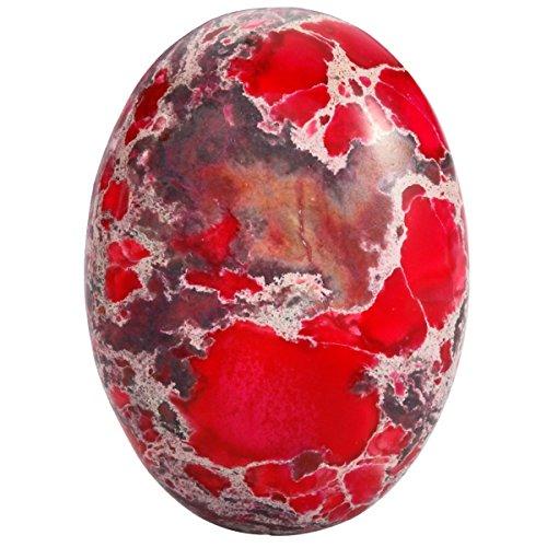 rockcloud 22x30mm Oval Cabochon Flatback Semi-Precious Stones Sea Sediment Jasper for Jewelry Making Pack of 5 ()