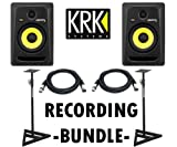 KRK RP6G3-NA Rokit 6 Generation 3 Powered Studio Monitor (PAIR) / Samson SAMS200 Heavy Duty Monitor Stands (Set of 2) Samson / Pair of XLR cables 18ft ea