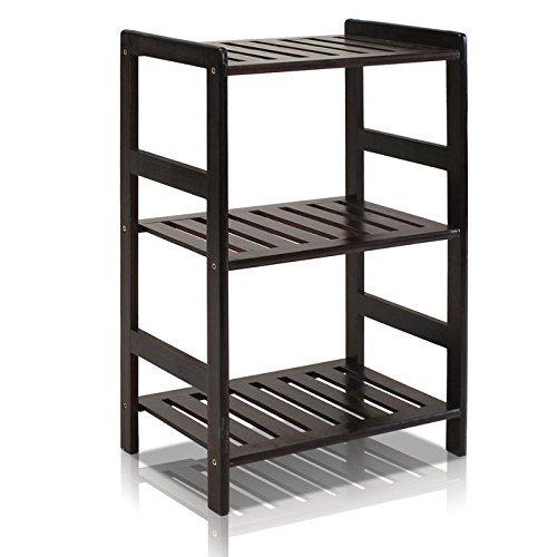 - Furinno FNCJ-33011 Pine Solid Wood 3-Tier Storage, Espresso