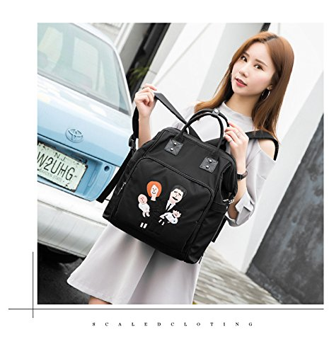 BigForest Multifunction lovely angle Applique Mummy Backpack Travel Tote Bag Handbag Baby Diaper Nappy Changing Bag Black-F