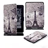 e-Life Kindle Case for Kindle All-New Paperwhite Thinnest and Lightest PU Leather Cover with Auto Wake/Sleep for Amazon Kindle, Eiffel Tower