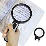 Vive 5X Magnifying Glass with Light (Plus 10X Lens) - Handheld, Lighted LED Magnifier - Illuminated Coin, Page Reader - Jewelers Loupe, Loop - Large, Big Reading Aid for Pocket Map, Book, Travel