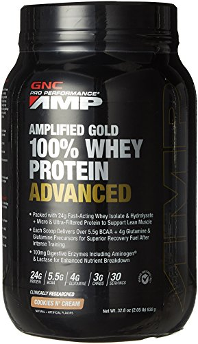 Gnc Protein Whey (GNC Pro Performance AMP Amplified Gold 100% Whey Protein Advanced, Cookies N Cream, 32.8)