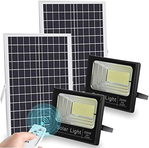 LEDMO 200W Solar Flood Lights Outdoor Dusk to Dawn 20000 LM Remote Control Solar Powered Flood Light IP67 Waterproof White 6500K 2 Pack
