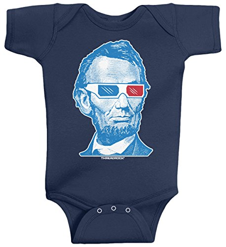 Threadrock Baby Boys' Abraham Lincoln 3D Glasses Infant Bodysuit 6 Months (Abraham Lincoln Suit)