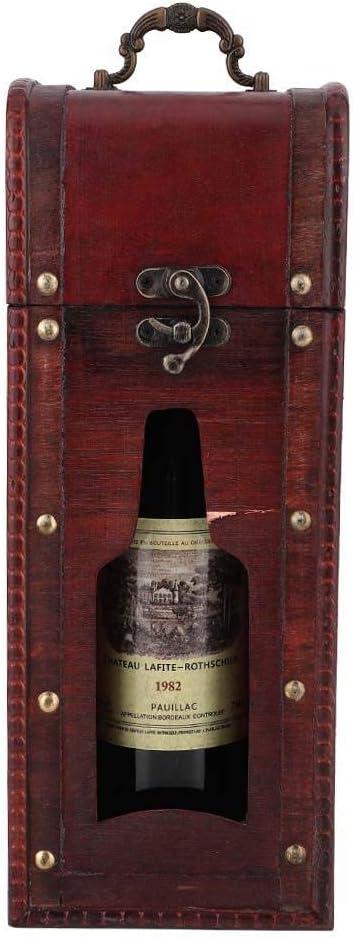 Caja de Regalo Portátil de Madera Vino Tinto Botella de Champán Botella Individual Botella de Vino Caja de Regalo Caja de Regalo Estuche Portátil Vino Accesorio para Boda Regalo de Cumpleaños: Amazon.es: