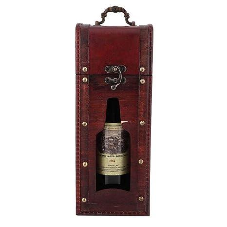 Caja de Regalo Portátil de Madera Vino Tinto Botella de ...