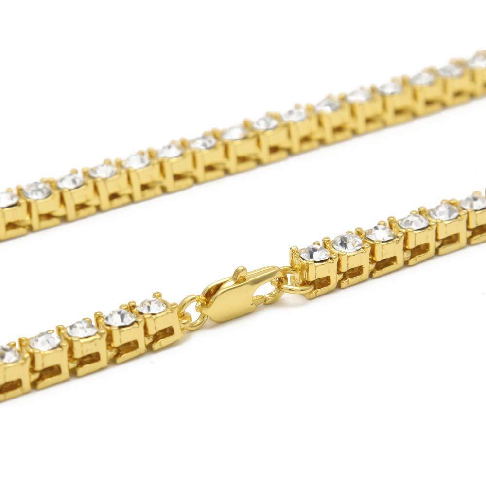 AOVR Hot Hip Hop Cuban Link 5mm CZ Crystal Gold Silver Plated Ruby Fully Iced-Out Chain Necklace C-18