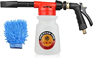 Car Foam Gun with Wash Mitt, Adjustable and Blaster Car Foam Sprayer with 0.23 Gallon Bottle, Adjustable Water Pressure & Soap Ratio Dial - Foam Cannon Attaches to Any Garden Hose