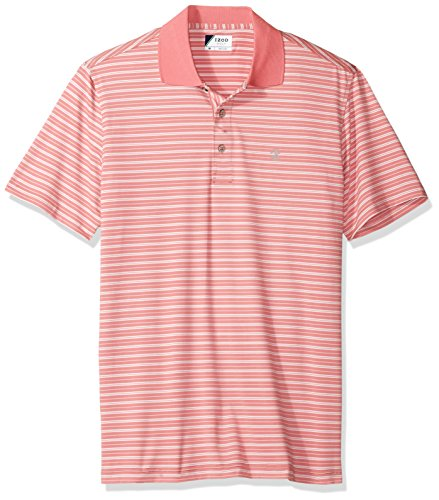 IZOD Men's Short Sleeve Textured Stripe Traditional Golf Polo, Pink Lemonade, (Traditional Lemonade)