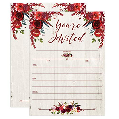 (Burgundy Red Floral Rustic Invitations, Rustic Elegant invites for Wedding Rehearsal Dinner, Bridal Shower, Engagement, Birthday, Bachelorette Party, Baby Shower, Reception, Anniversary, Housewarming)