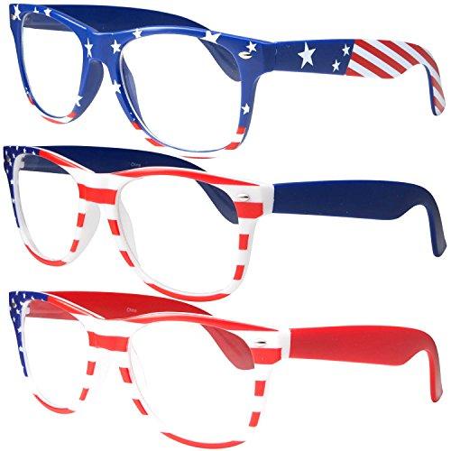 NON-Prescription USA American Patriot Flag Glasses, 3 - Prescription Glasses Awesome