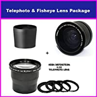 3.5X HD Professional Telephoto lens & 0.35x HD Super Wide Angle Panoramic Macro Fisheye Lens For Kodak Easyshare P850 P712