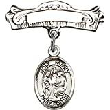 Sterling Silver Baby Badge with Holy Family Charm and Arched Polished Badge Pin 7/8 X 7/8 inches