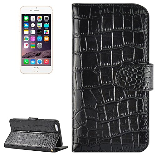Phone Taschen & Schalen Krokodil-Textur Horizontale Flip Echtes Leder Etui mit Card Slots & Holder für iPhone 6 Plus & 6S Plus ( Color : Black )