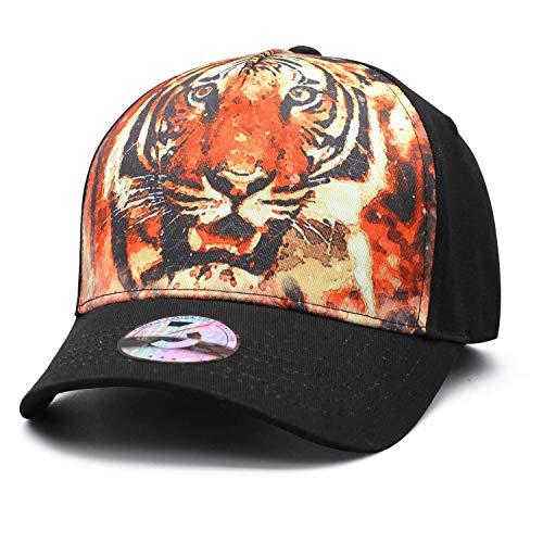 Tiger Print Hat - Bombline Men&Women Large Tiger Head Fishing Hat Adjustable Classic Dad Baseball Cap (One Size, Large Tiger Head)