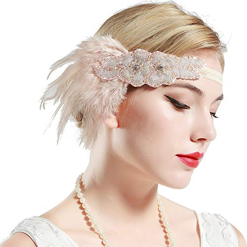 BABEYOND 1920s Flapper Headband 20s Great Gatsby Headpiece Bridal Feather Headband 1920s Flapper Gatsby Accessories with Crystal (Pink)