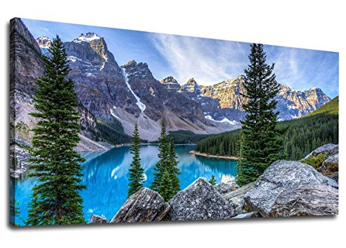 Large Canvas Wall Art Moraine Lake Glacially Fed Lake in Banff National Park Painting Long Nature Canvas Artwork Mountain and Lake Water Contemporary Picture for Home Office Wall Decor 24
