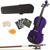 Mendini 16-Inch MA-Purple Solid Wood Viola with Case, Bow, Rosin, Bridge and Strings