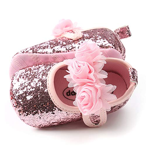 Tutoo Baby Girls' Party Shoes Newborn Soft Sole Walkers Shoes Infant Crib Shoes (4.33 (3-6 Months), G-Sequins Pink)