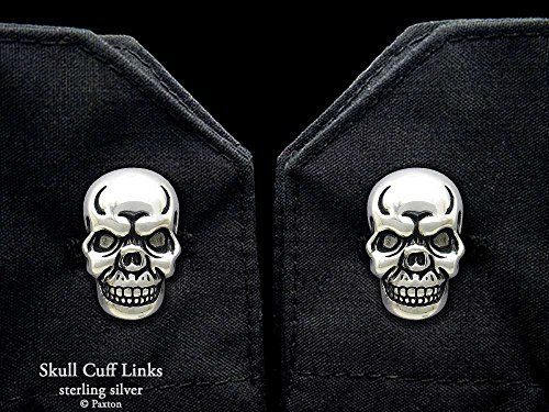 Skull Cuff Links in Solid Sterling Silver Hand Carved & Cast by Paxton by Paxton Jewelry