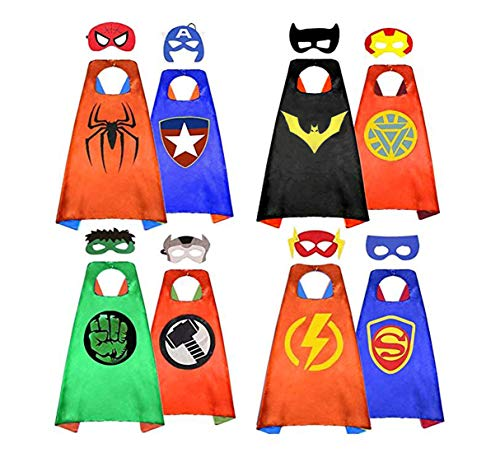 HERO WOW Superhero Capes, 8 Heroes Reversible