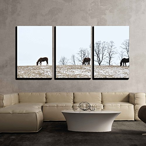 wall26 - 3 Piece Canvas Wall Art - Horses on Hill - Modern Home Decor Stretched and Framed Ready to Hang - 24