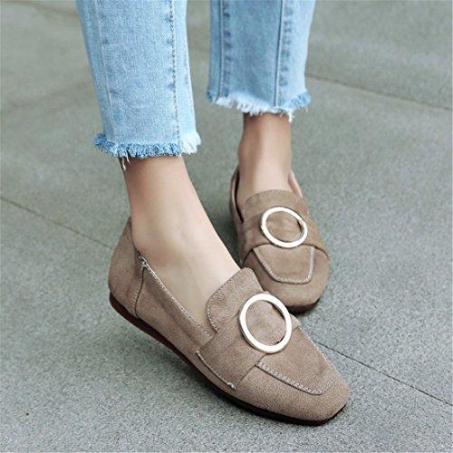 Satin y Beige el Mujer Estudiantes Europa Plano de Grandes la Zapatos Zapatos de en Otoño Durante de Calzado de América Tacón Primavera Números y gwPH74Y