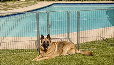 Precision Pet 38 in. Courtyard Kennel Silver Crackle