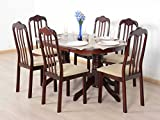 T2A Livez Six Seater Dining Table Set - Oval Shaped & Contemporary Style Dining Table with 6 Chairs Set - Durable Solid Wood Dining Table Set with 6 Chairs for Family (Cappuccino Finish)
