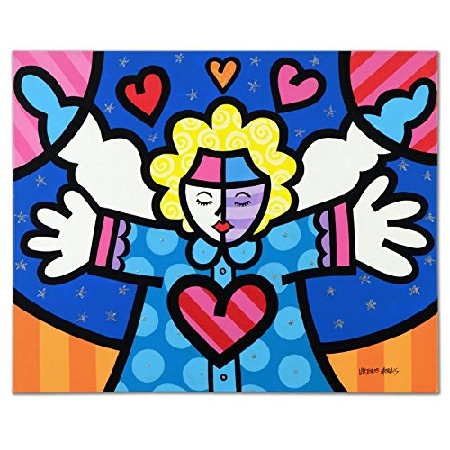 VALTER DE MORAIS ORIGINAL ACRYLIC ANGEL WITH HEART PAINTING Signed ROMERO BRITTO style ()