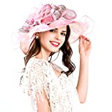Women Foldable Organza Church Derby Hat Ruffles Wide Brim Summer Bridal Cap for Wedding Tea Party Beach (Pink)