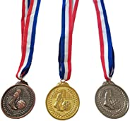 Gold Silver Bronze Award Medals,Zinc Alloy Soccer Football Award Trophies Medal with Ribbon for Sports, Compet