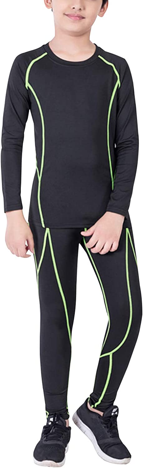Minghe Boys Compression Long Sleeve Shirts Pants Set Athletic Base Layer Running Leggings for Sport Soccer Basketball Skiing